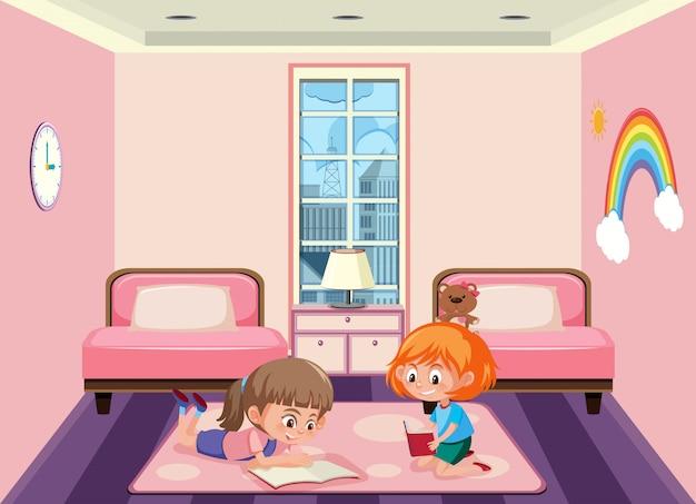 Duas meninas, compartilhando quarto