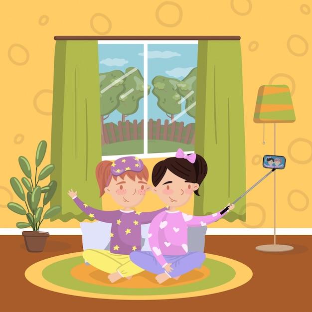 Duas meninas de pijama fazendo selfie na sala de estar, interior da casa de estilo vintage ilustração