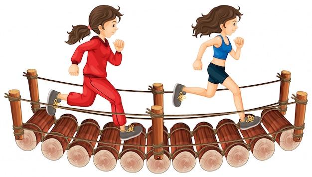 Duas meninas, executando, ligado, a, ponte madeira