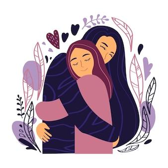 Duas meninas felizes se abraçam e sorriem com força. ilustração vetorial em estilo simples.