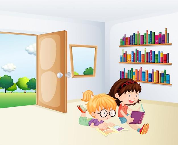 Duas meninas lendo dentro de uma sala