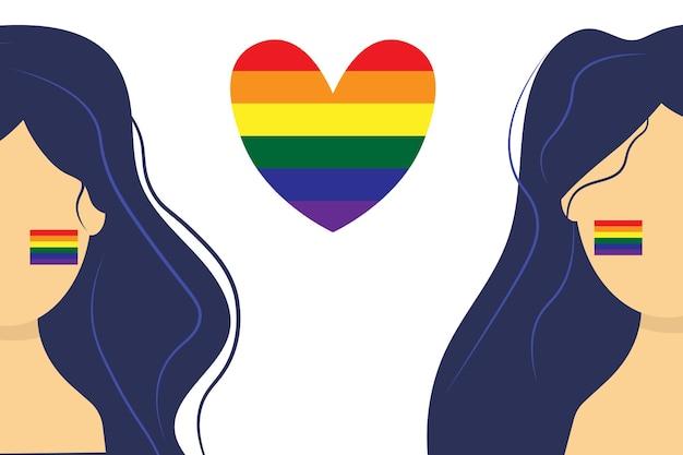 Duas meninas lgbt amam celebrando o mês do orgulho lgbt