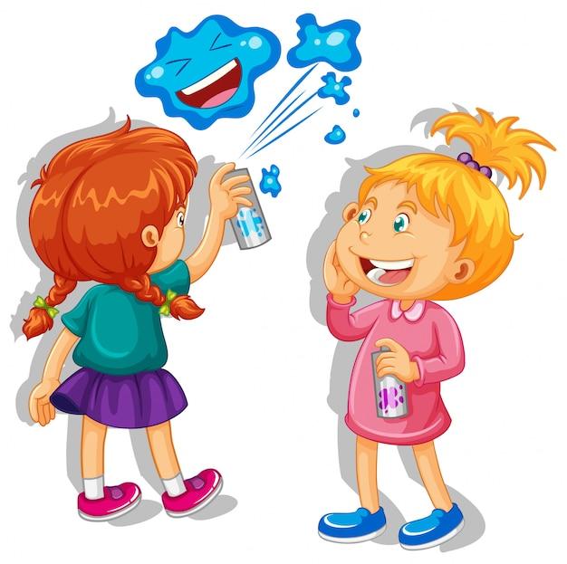 Duas meninas pulverizando na parede