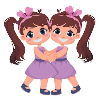 Duas meninas são gêmeas irmãs abraçam crianças no feriado do dia internacional do vetor dos abraços