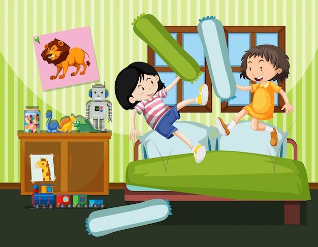 Duas meninas, tendo, um, combate travesseiro