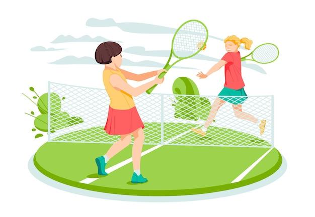 Duas meninas tenistas na quadra de tênis Vetor Premium