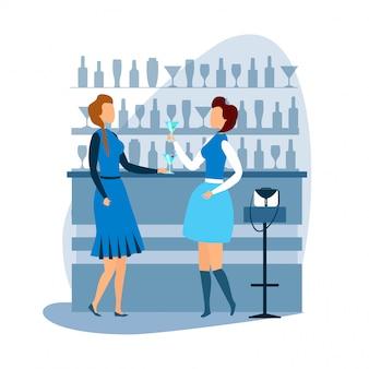 Duas mulher descansando no cartoon bar cocktail