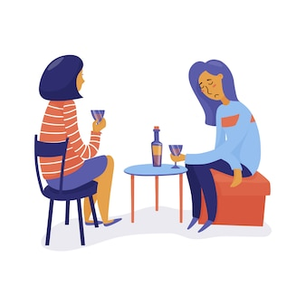 Duas mulheres bebem vinho, uma triste e deprimida, outra ouvindo