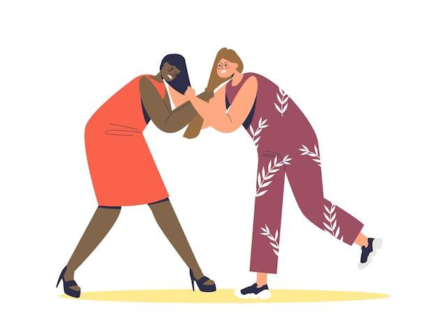 Duas mulheres brigando e puxando cabelo