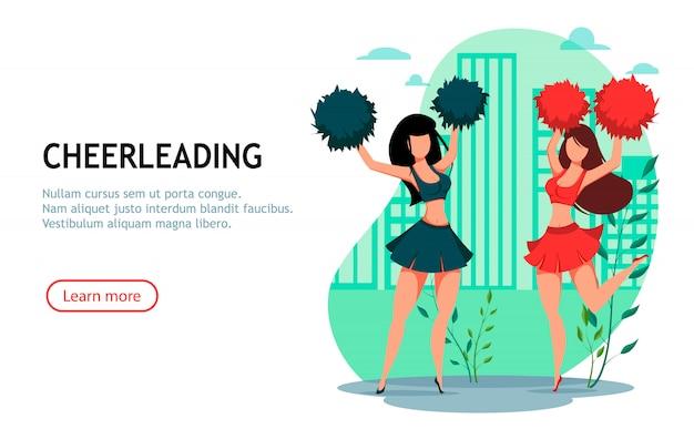 Duas mulheres cheerleader com pompons