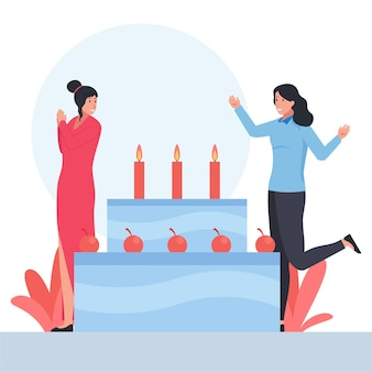Duas mulheres com gestos felizes comemoram a festa de aniversário
