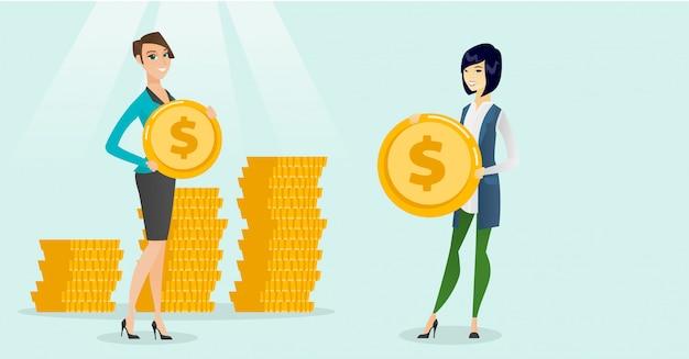 Duas mulheres de negócio multi-étnicos com moedas do dólar.