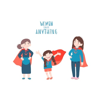 Duas mulheres e uma menina estão vestindo fantasias de super-heróis
