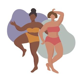 Duas mulheres em maiôs ou roupas íntimas em tons de pele e cores de cabelo diferentes