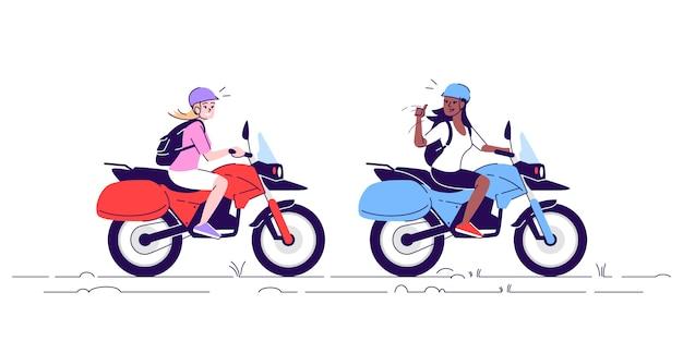 Duas mulheres em motocicletas plana doodle ilustração