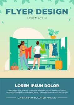 Duas mulheres escolhendo roupas para viajar do guarda-roupa. vestuário, vestido, ilustração vetorial plana de bagagem. conceito de moda e férias