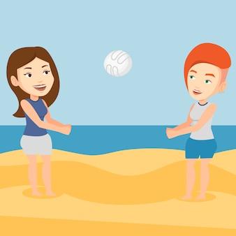 Duas mulheres jogando vôlei de praia.