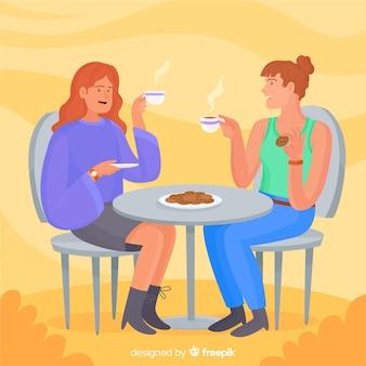 Duas mulheres jovens a passar tempo juntos