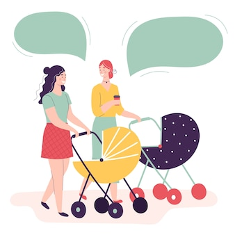 Duas mulheres jovens andando com carrinhos de bebê, conversando e sorrindo.