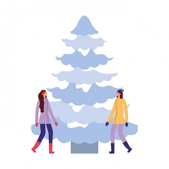 Duas mulheres, junto, com, inverno, árvore