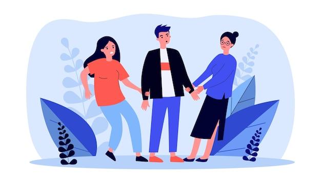 Duas mulheres puxando as mãos de um homem ilustração plana