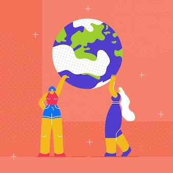 Duas mulheres segurando terra globo ilustração plana