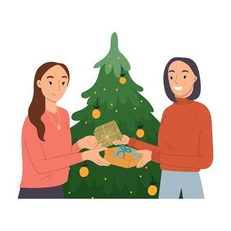 Duas mulheres trocando presentes de natal.