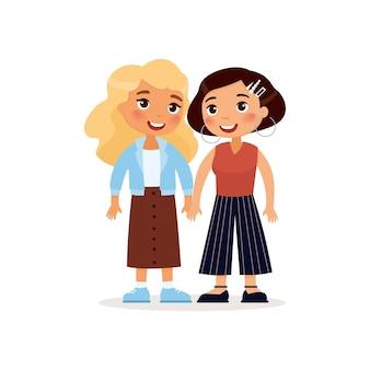 Duas namoradas jovens ou um casal de lésbicas de mãos dadas