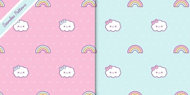 Duas nuvens fofas e padrões sem emenda de arco-íris definem vetor premium
