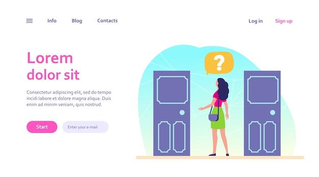 Duas opções de entrada. mulher com ponto de interrogação, escolhendo entre duas portas. solução, oportunidades, conceito de dilema para design de site ou página de destino