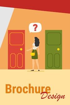 Duas opções de entrada. mulher com ponto de interrogação, escolhendo entre ilustração vetorial plana de duas portas. solução, oportunidades, conceito de dilema