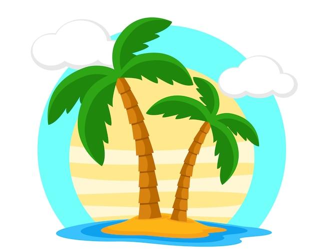 Duas palmeiras na ilha contra o pôr do sol. período de férias.