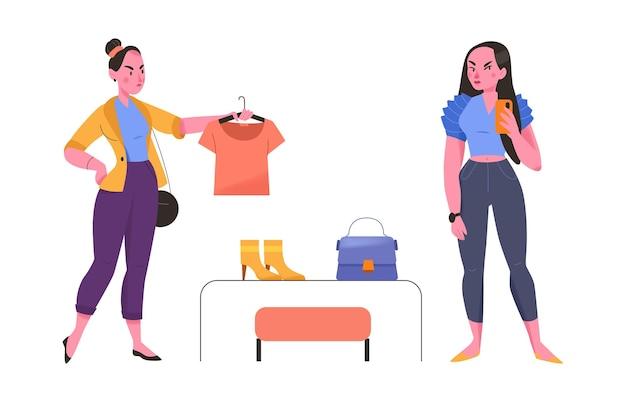 Duas personagens femininas comprando camisetas e acessórios em uma loja de roupas