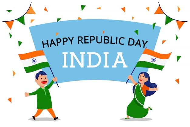 Duas pessoas acenando uma bandeira comemoram o dia da república da índia