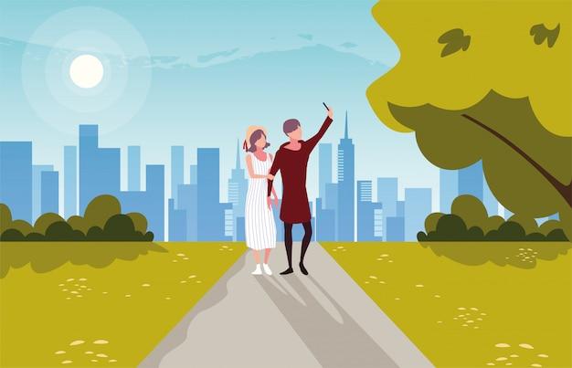 Duas pessoas apaixonadas, caminhando no parque