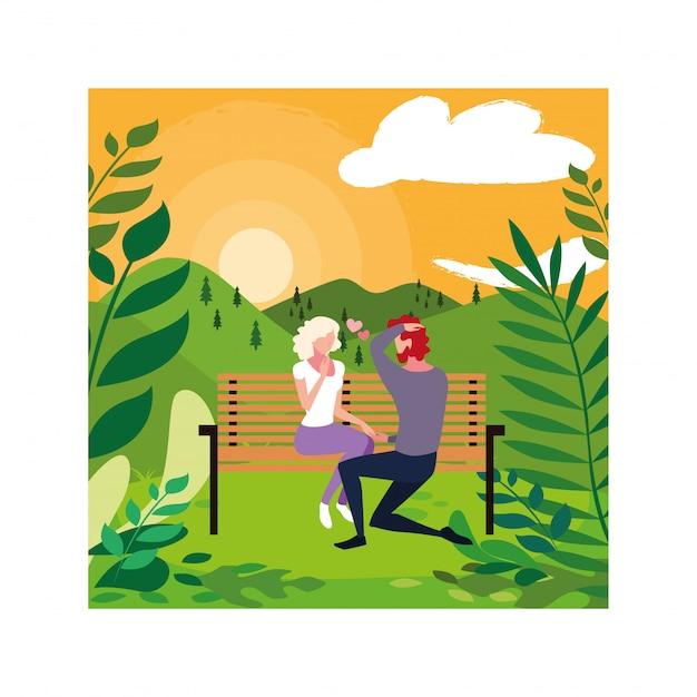Duas pessoas apaixonadas, sentado na cadeira do parque