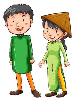 Duas pessoas asiáticas
