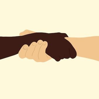 Duas pessoas com cores de pele diferentes de mãos dadas com ilustrações planas