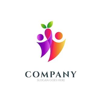 Duas pessoas com design de logotipo de folha adequado para cuidados de saúde e cuidados