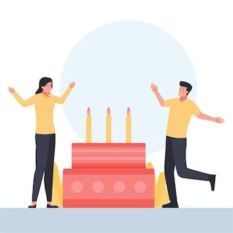 Duas pessoas com gestos felizes comemoram a festa de aniversário