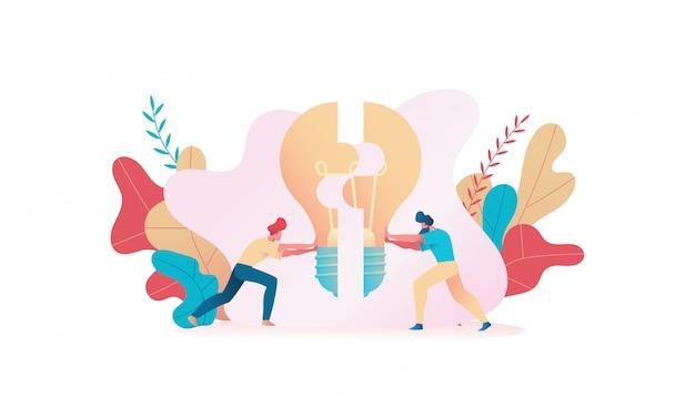 Duas pessoas conectam a lâmpada de quebra-cabeça