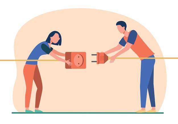 Duas pessoas conectando plugue e soquete. homem e mulher puxando cabos com ilustração plana de tomada e plugue