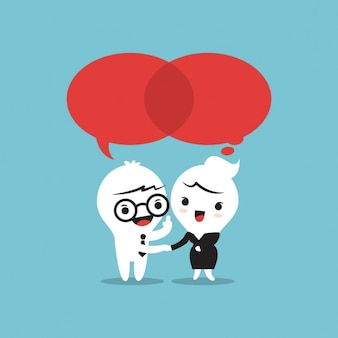Duas pessoas conversando balões de fala