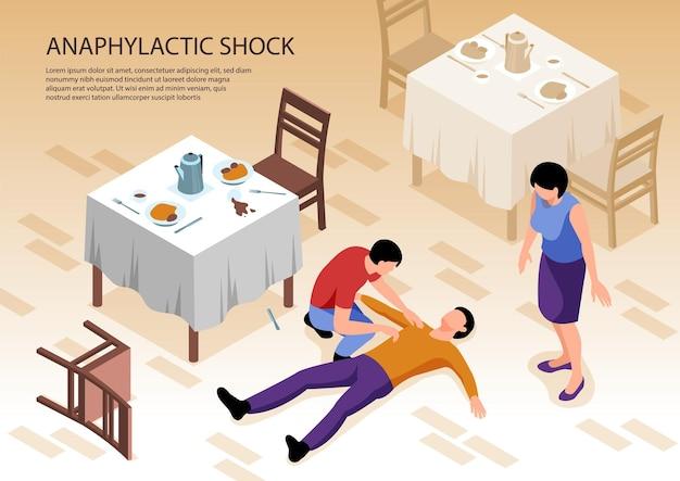 Duas pessoas cuidando de um homem com alergia e choque anafilático deitadas no chão no restaurante ilustração isométrica 3d,