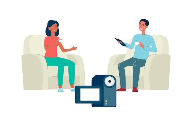 Duas pessoas em entrevista em vídeo na frente da câmera