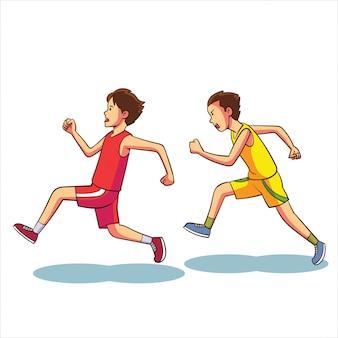 Duas pessoas estão competindo para correr em direção à linha de chegada