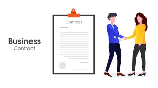 Duas pessoas fazendo contratos comerciais