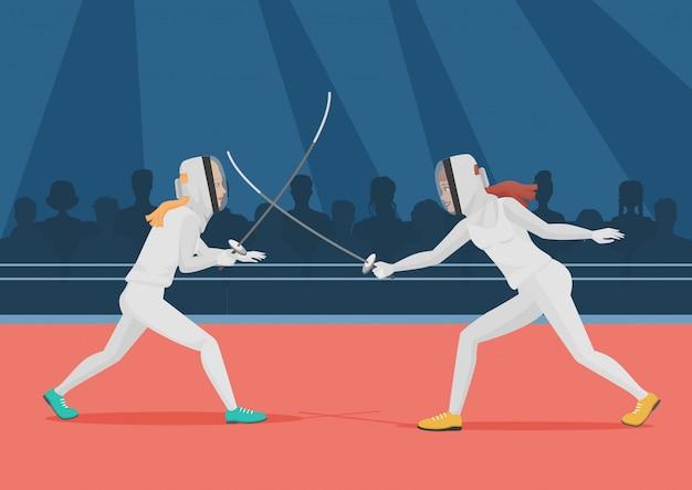 Duas pessoas fazendo esgrima. ilustração em vetor campeonato de esgrima.