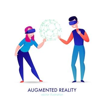 Duas pessoas felizes usando óculos de realidade aumentada em desenho branco