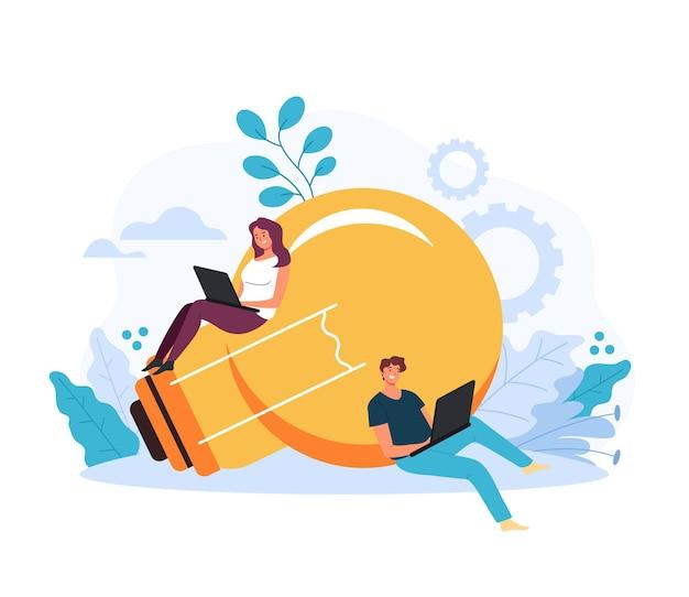 Duas pessoas freelancer homem mulher personagem desenvolvendo estratégia de ideia de negócio. conceito de arranque de boa ideia fresca.